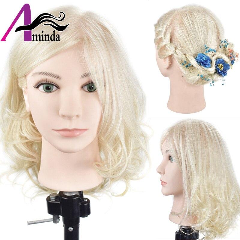 16 дюймов блондинка Учебные головы-манекены с 100% натуральный человеческий волос прически манекен голова парикмахерские манекена куклы с во...
