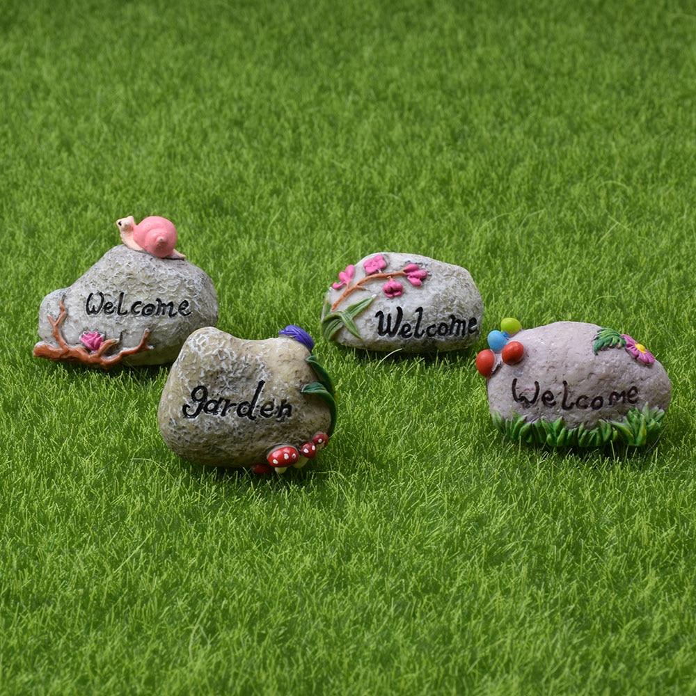 Mini Welcome  Stake Fairy Garden Miniature Bonsai Decor Craft Decorative Figurines Micro Landscape Doll House Accessories