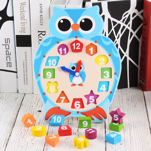 Wooden Educational Clock Cognition Pairing Toy Children Clock Building Blocks Baby Montessori Digital Clock Teaching Aid