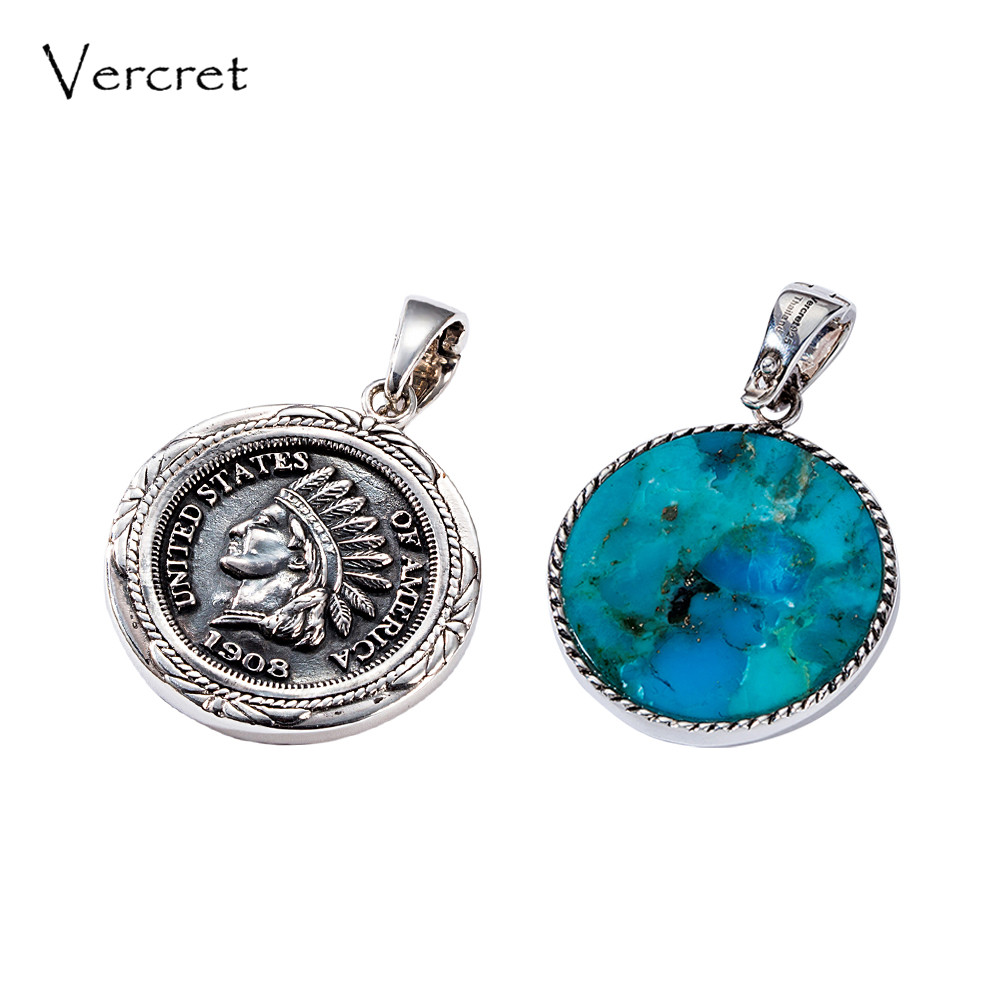 Vercret Vintage Indian Head Penny Native American Charms Pendent for Men Women Turquoise Silver 925 Jewelry Necklace Pendent все цены