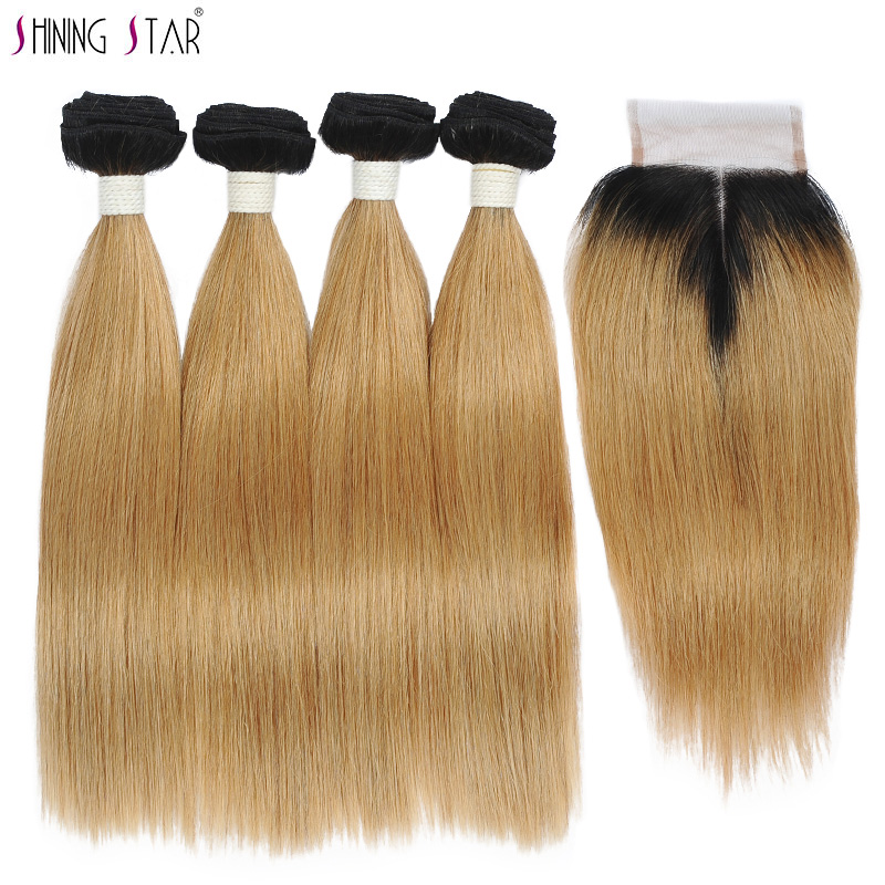 Brazilian 1B 27 4 Honey Blonde Bundles With Closure Human Hair Straight Colored Bundles With Closure Ombre Shining Star Non Remy