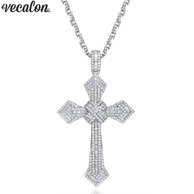 Vecalon Big Cross Pendant 925 Sterling Silver AAAAA Zircon Wedding Engagement Pendants With Necklace For Women Men Jewelry
