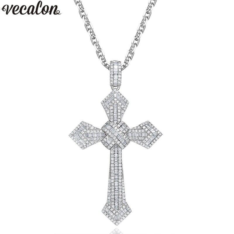 Vecalon Große Kreuz anhänger 925 Sterling silber AAAAA zirkon Hochzeit Engagement Anhänger mit halskette für Frauen Männer Schmuck