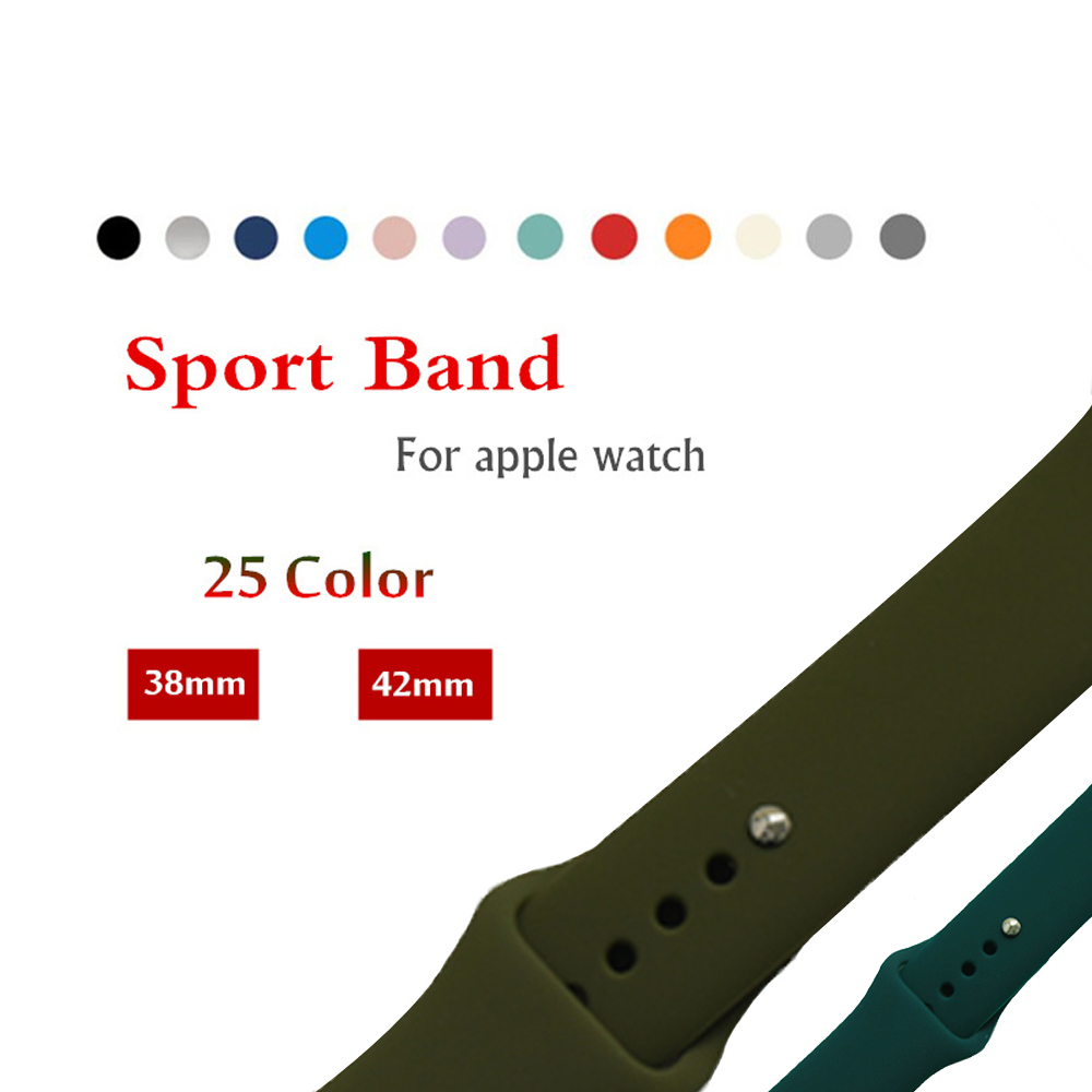 Sport Silicone strap For Apple Watch band 42mm/38mm Iwatch 3/2/1 bracelet Replacement Rubber Wrist watchband with metal Buckle
