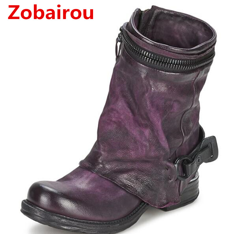 Zobairou Winter Woman Ladies Motorcycle Rain Boots Combat Punk Ankle Shoes Women Biker Genuine Leather Cowboy Boots Stockings