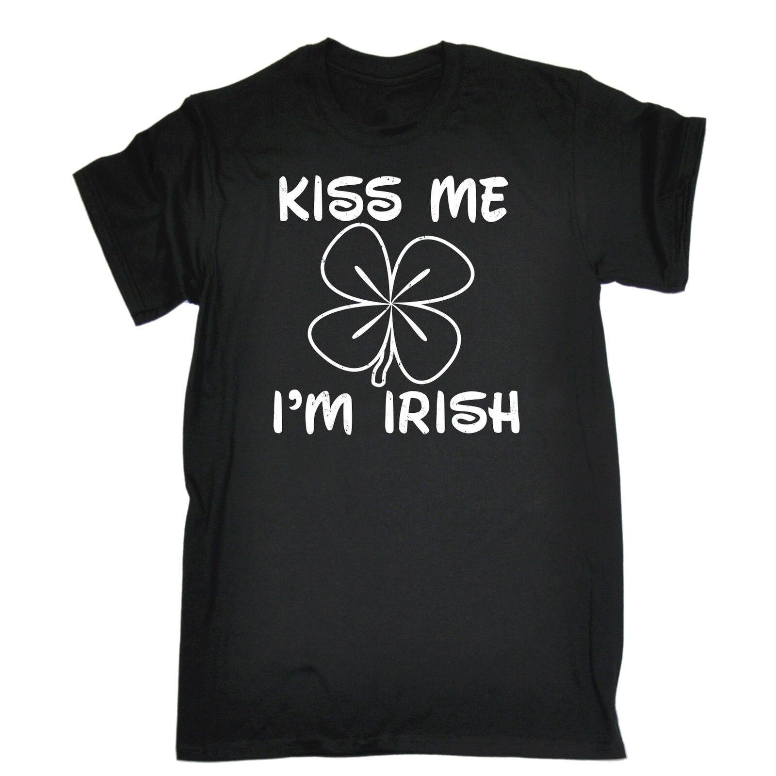Kiss Me Im Irish T-SHIRT Tee Ireland St Patricks Day Humour Funny Birthday Gift Normal Short Sleeve Cotton T Shirts