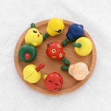 3 шт. деревянный мультфильм фруктовый дизайн спиннинг детские игрушки подарок Забавный Досуг изысканный фруктовый дизайн ручной Спиннеры