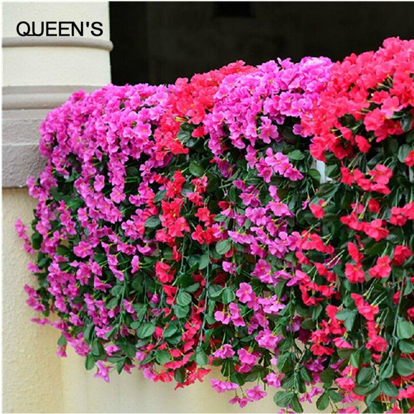 Flower Hanging Plant Silk Garland Vine For Wedding Home Decoration 2