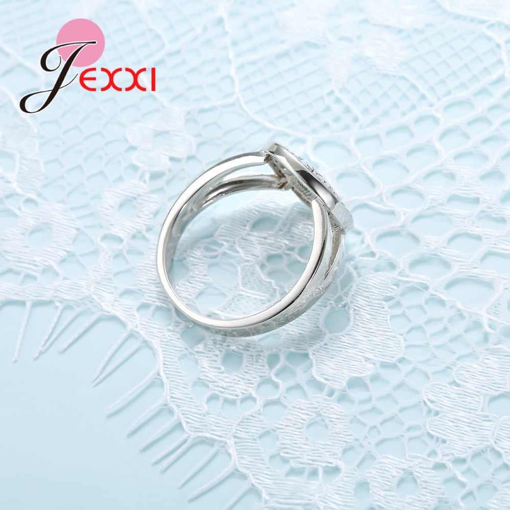 แฟชั่นแหวน CZ Charm 925 เงินสเตอร์ลิงผู้หญิงนัดหมายงานแต่งงานเครื่องประดับของขวัญคุณภาพสูง
