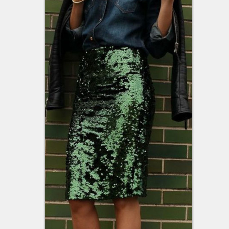 8cf309d1da0f Bling Sequin Pencil Skirt 2017 Fashion Midi Skirt for Women Silver Old  Green Sequin Skirt High End Saia Custom Made Plus Size-in Skirts from  Women's ...