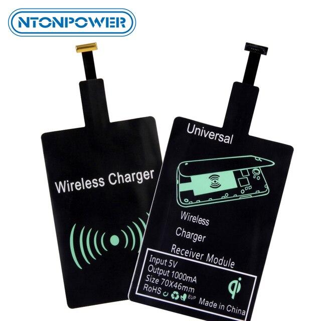 وسادة وحدة استقبال شاحن لاسلكي NTONPOWER QI لشحن لاسلكي Micro USB من النوع C لهواتف سامسونج وشاومي وهواوي