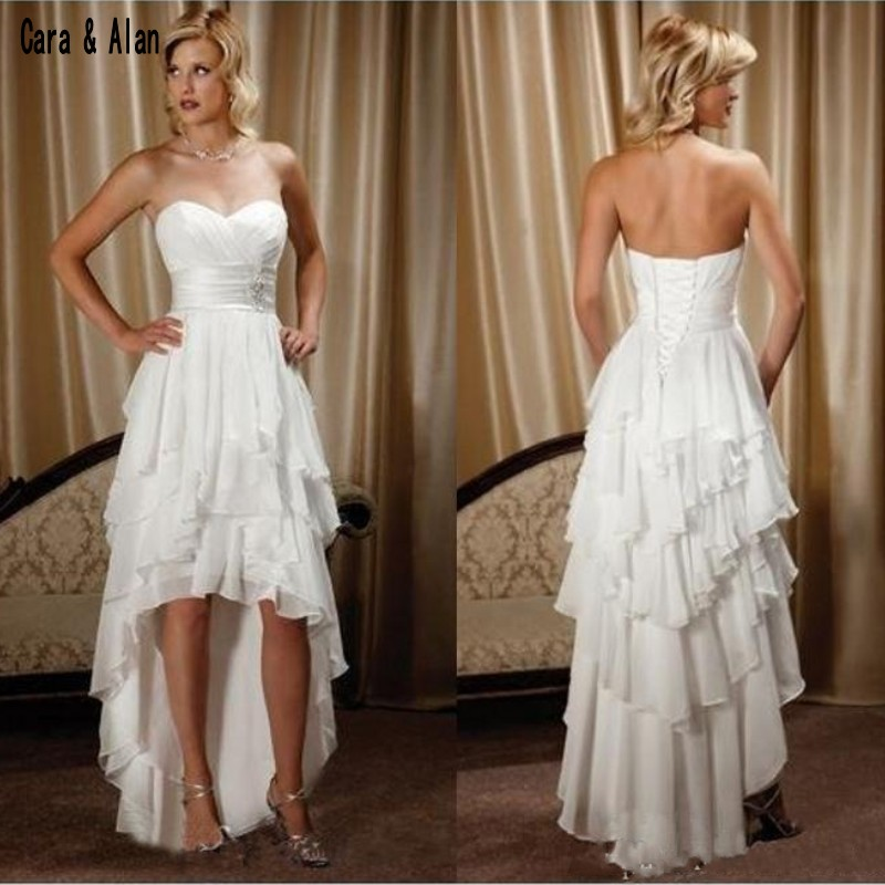 Short Front Long Back Country Wedding Dresses 2019 Sweetheart Chiffon High Low Bridal Gowns Cheap Beach Wedding Reception Dress Aliexpress