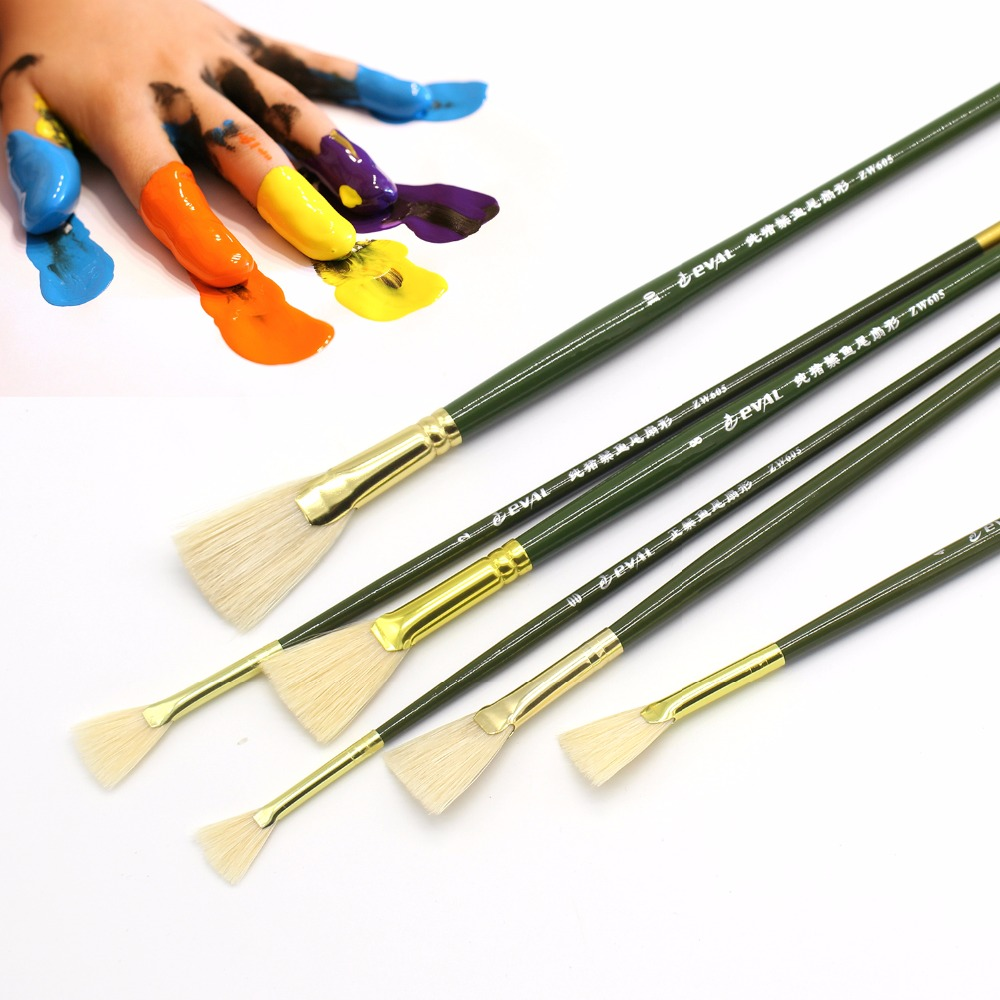 Eval 6pcs/set Bristle Paint Brush Acrylic Artist Oil Watercolor Paint Brush Drawing Tool Art Supplies for Students