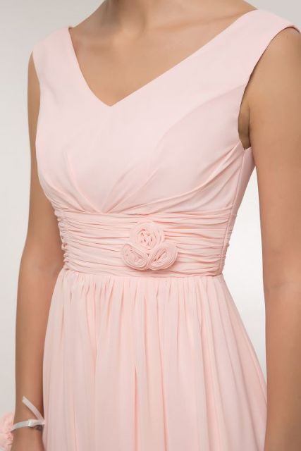 Chiffon Long Pink A-Line Sleeveless Wedding Party dress