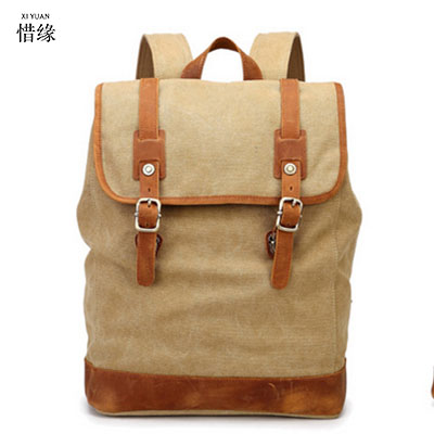 все цены на Fashion Vintage College Student Backpack Men Youth School Bag Big Male Canvas Backpacks for Teenager man Backpack sac a dos