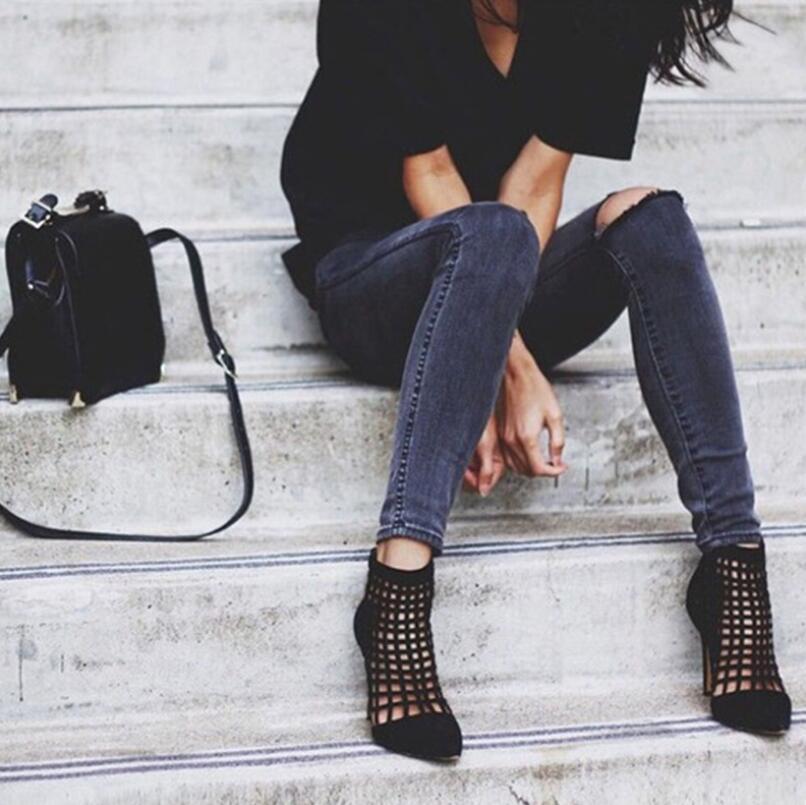 Black Altos Altas Bombas Roma Estrecha Primavera Hueco Otoño Nuevo Mujer Caliente Zapatos Botas De Tacones Mujeres Calf Sexy Italia 2017 Punta qvxRTwY5