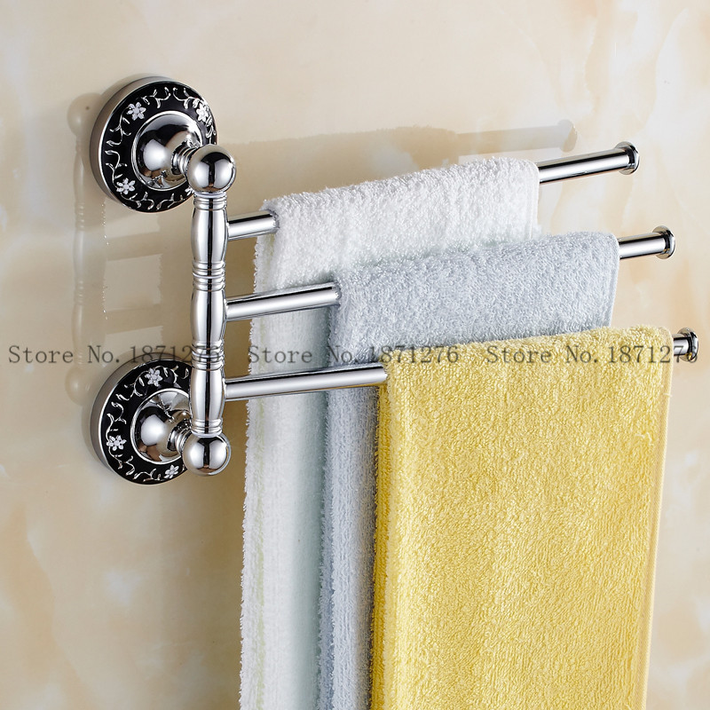 New Design Rotating And Fixed Towel Brass Chrome Finish Wall Mounted ...