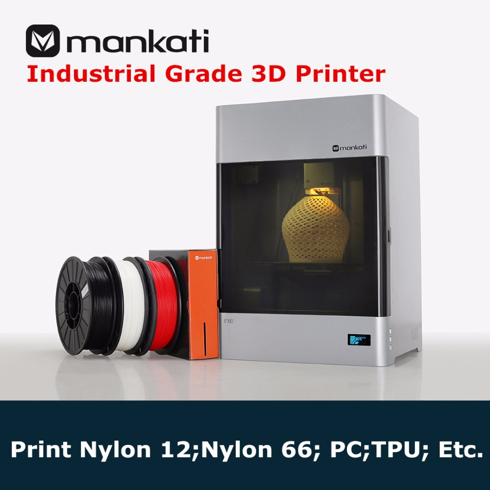New Industrial Grade Mankati E180 3D Printer Automatic Leveling Print Nylon 66, 12 PC 3D Printer With Filament Monitoring Alarm