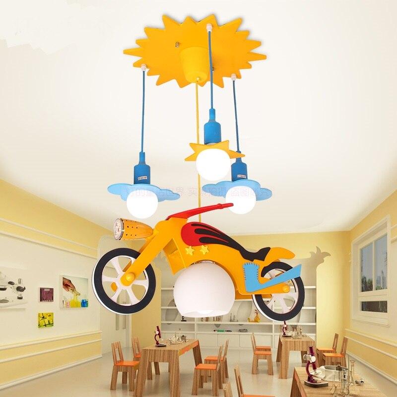 Cartoon children's room pendant light eye protection LED motorcycle car boy speed pull pendant lamp ya811