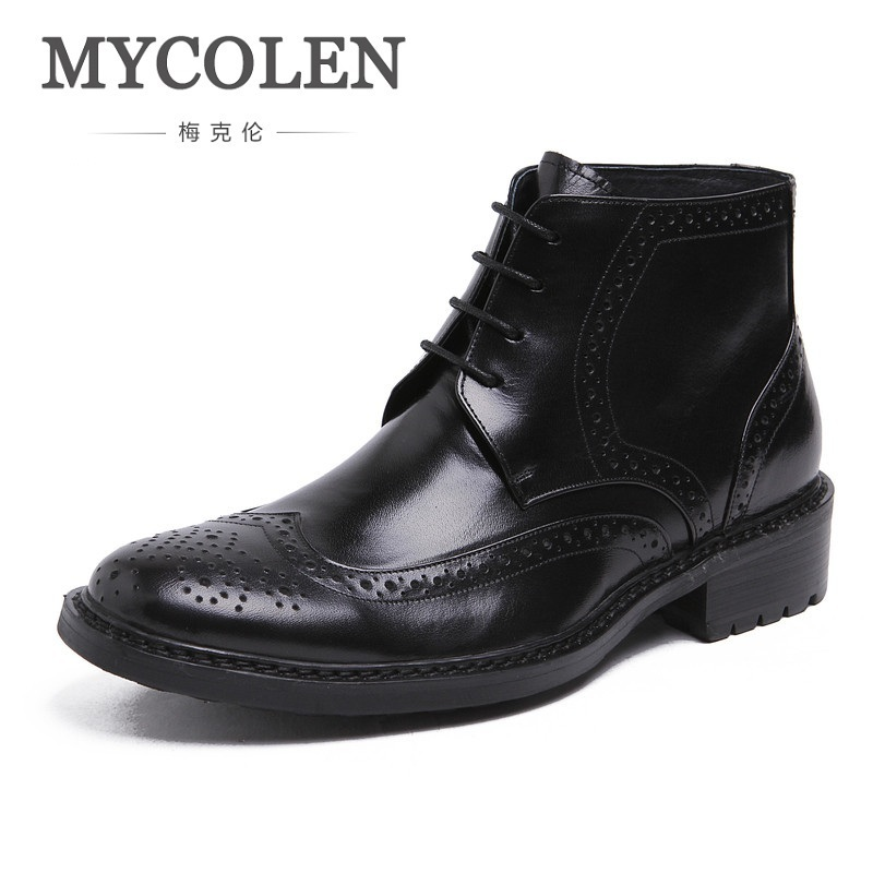 MYCOLEN Brand 2018 Genuine Leather Winter Shoes Men Lace-up Ankle Boots Business Cotton Men Footwear Black Motorcycle Boots northmarch luxury brand men shoes for winter basic ankle boots genuine leather men s chelsea boots black botas moto hombre