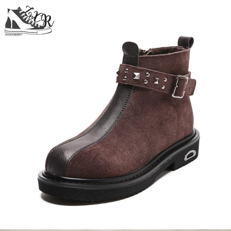 Zuoxiangru New Style 2018 Winter Women Ankle Boots Rivet Booties Shoes Woman Martin Boots Women Buckles Shoes For Women Boots women martin boots 2017 autumn winter punk style shoes female genuine leather rivet retro black buckle motorcycle ankle booties