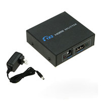 1080P New HDMI Splitter 1X2 Full HD 3D Video 1in2 Out Amplifier Dual Display For HDTV DVD PS3 Xbox HDCP 4K Video with Power Plug