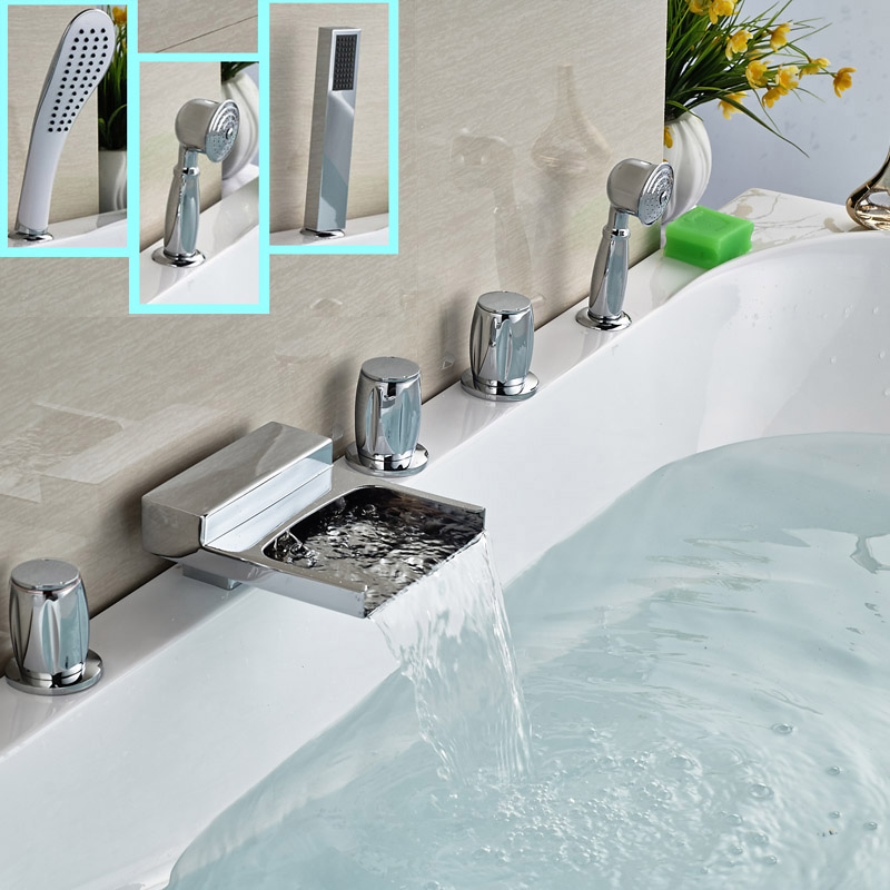 DecK Mounted Bathtub Waterfall Faucet Bath Mixer Faucet 5 piece for Bathroom Bathtub in Chrome free shipping polished chrome finish new wall mounted waterfall bathroom bathtub handheld shower tap mixer faucet yt 5333