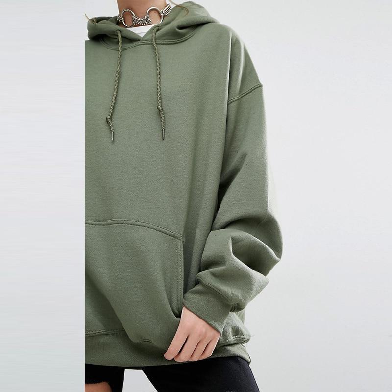 0c1c4722136f SSS Oversize Autumn Womens Cotton Long sleeve Army Green Sweatshirts Ladys  Loose Hat Hoodies Big Pocket Clothing Streewear-in Hoodies   Sweatshirts  from ...