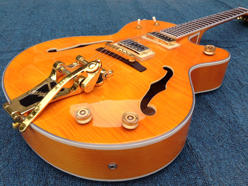 High quality Custom  G-retsh electric guitar bigsby bridge gold hardware archtop electric guitar jazz guitar chinese glossy black g6128t gh george harrison signature duo jet electric guitar with bigsby for sale