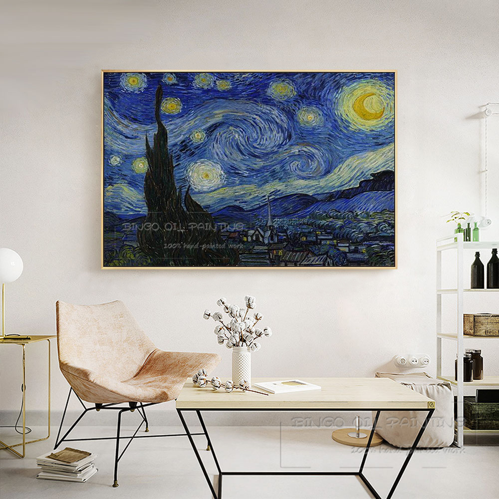 Excellent Artist Hand painted High Quality Starry Sky Oil Painting on Canvas Reproduction Van Gogh Starry Night Oil Painting in Painting Calligraphy from Home Garden