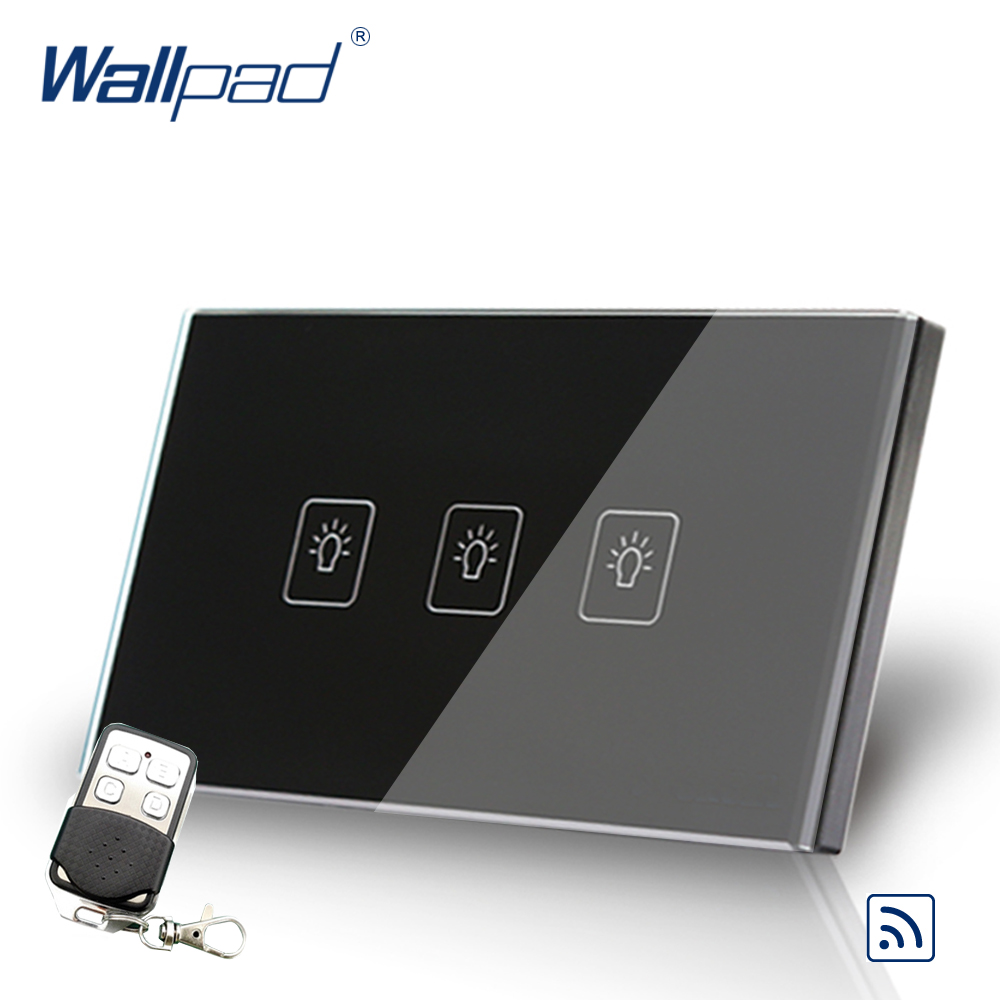 3 Gang 1 Way Remote Switch 118*72mm US Wallpad Black Glass RF Broadlink Wifi Support 3 Gang Remote Control Switch Free Shipping 118 us norm 1 gang crystal glass black wifi light switch wallpad wireless remote control wall touch light switch free shipping