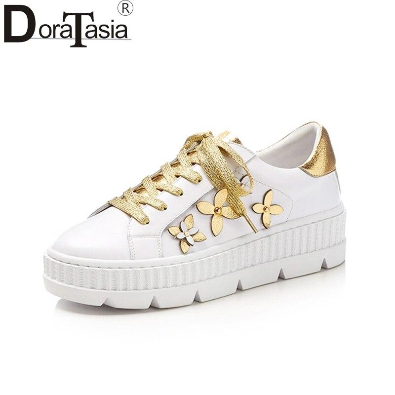 Doratasia Neue Echtes Leder Marke Casual Wohnungen Frauen Schuhe Blumen Schuhe Frau Freizeit Weiß Mode Wohnungen Turnschuhe-in Flache Damenschuhe aus Schuhe bei  Gruppe 1