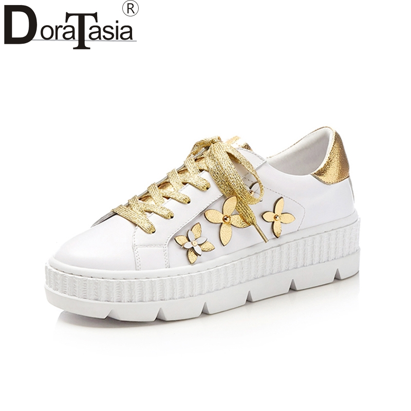 Doratasia New Genuine Leather Brand Casual Flats Women Shoes Flowers Shoes Woman Leisure White Fashion Flats Sneakers ribetrini summer large size 34 40 cow genuine leather woman shoes mix color leisure flats women shoes sneakers