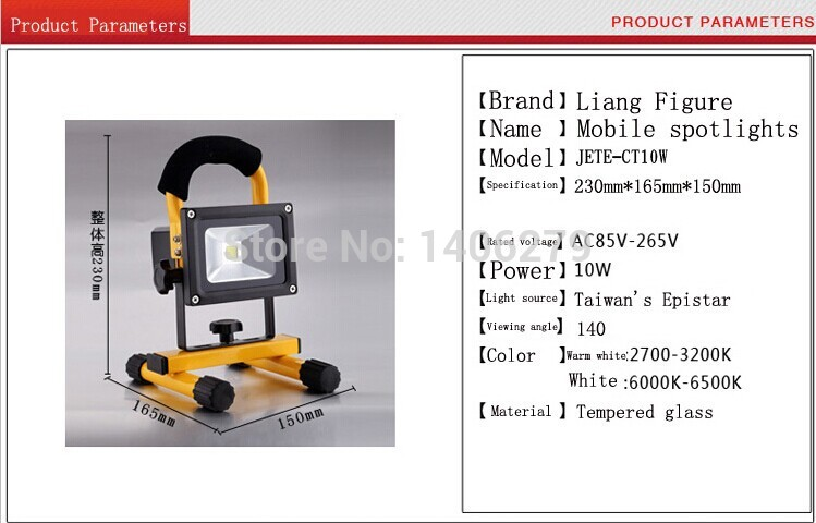 10W LEDPromotion New Ccc Flood Lights Rechargeable Led Floodlight Lithium-ion Battery 10wflood Lamp Portable Light Ip65