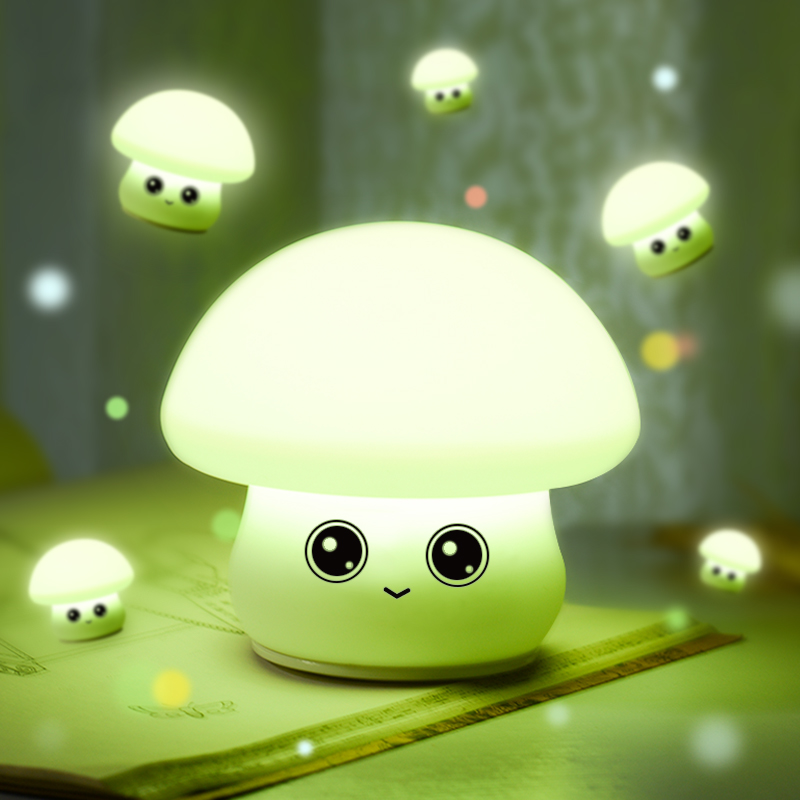 Meaningsfull Lovely Mushroom Silicone Soft Led Night light Rechargeable USB Cartoon Night Lamps For Baby Nursery Children Gifts lovely stitch night light cartoon