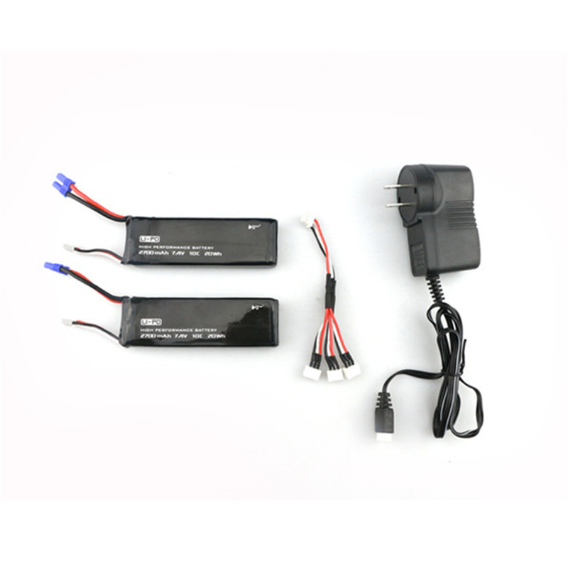 Hubsan H501S X4 Spare Part 2pcs 7.4V 10C 2700mAh Battery 1 To 3 Charging Cable Connector Battery Charger For FPV RC Camera Drone bs s hubsan x4 syma x5 2 to 5 balance and usb charging cable for 3 7v battery free shipping