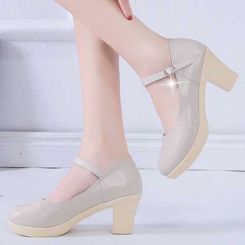 Rimocy Black High Heel 6cm Office Shoes Woman Platform Chunky Heels Ankle Strap Pumps Women Thick Bottom Non-slip Ladies Shoes Islamabad