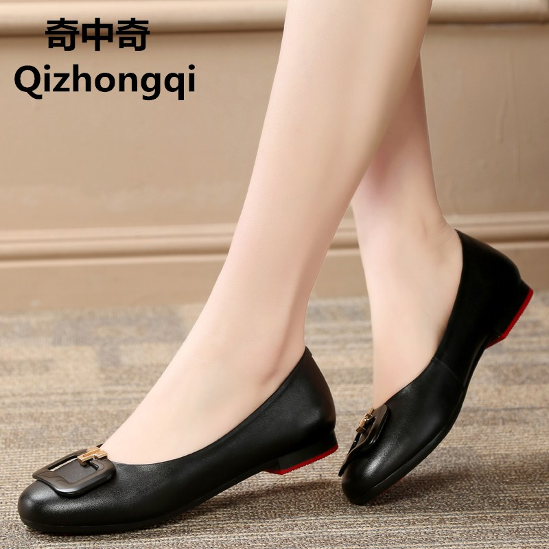 2017 spring and summer new genuine leather flat with women's shoes boat side buckle wild round of leisure pregnant women's shoes 2014 spring and summer new elegant gold buckle leather shoes women shoes carrefour
