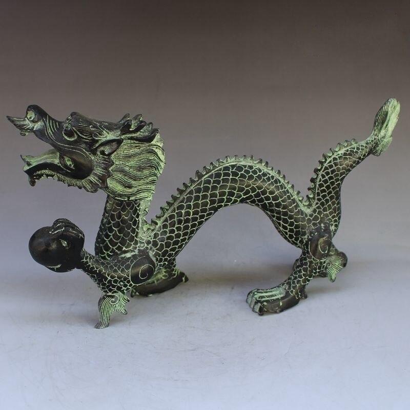 Exquise Antique Bronze chinois sculpture mythique Animal Dragon volant jouer perles merveilleuse Statue animale