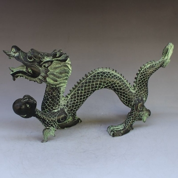 Exquisite Antique Chinese Bronze Carving Mythical Animal Flying Dragon Play Beads Wonderful Animal Statue