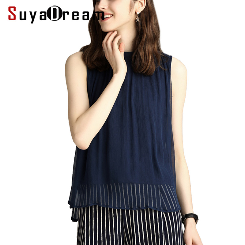 Women Silk   Blouse   100% REAL SILK Sleeveless Chiffon   Blouse     Shirt   Solid O neck 2019 Spring Summer   Shirt   Navy