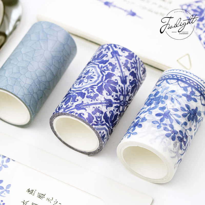 Blue White Porcelain Texture Decorative Washi Tape DIY Scrapbooking Masking Craft Tape School Office Supply colorful gilding hot silver alice totoro decorative washi tape diy scrapbooking masking craft tape school office supply