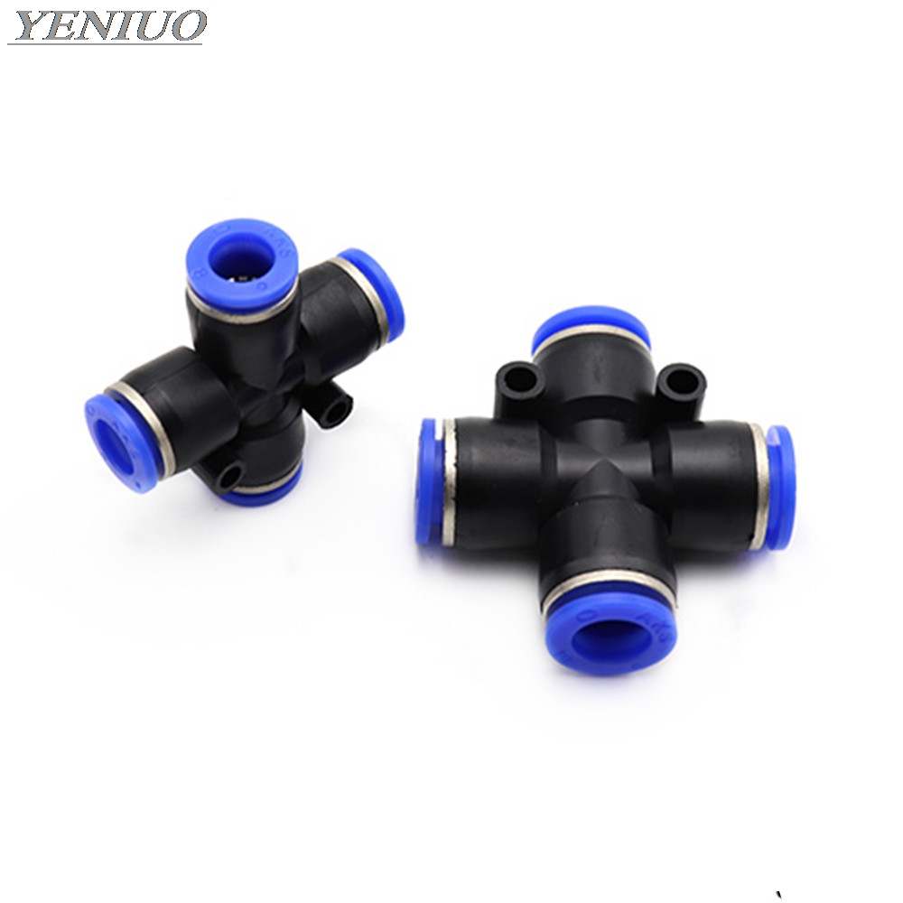 "PZAG"" Pneumatic Air Fitting 4 6 8 10 12mm OD Hose 4-Way Cross Shaped Splitter Push in Pneumatic Tube Connector Quick Fittings"