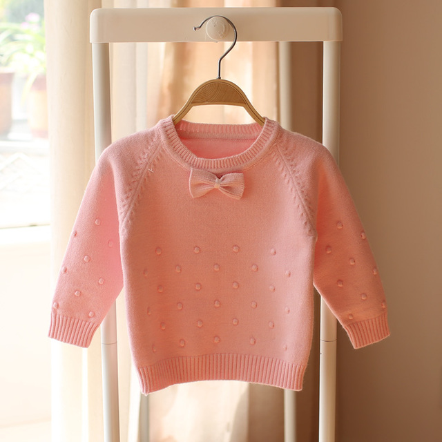2017 spring and autumn new baby kids sweater Children sweater girl sweater bow  pink blue