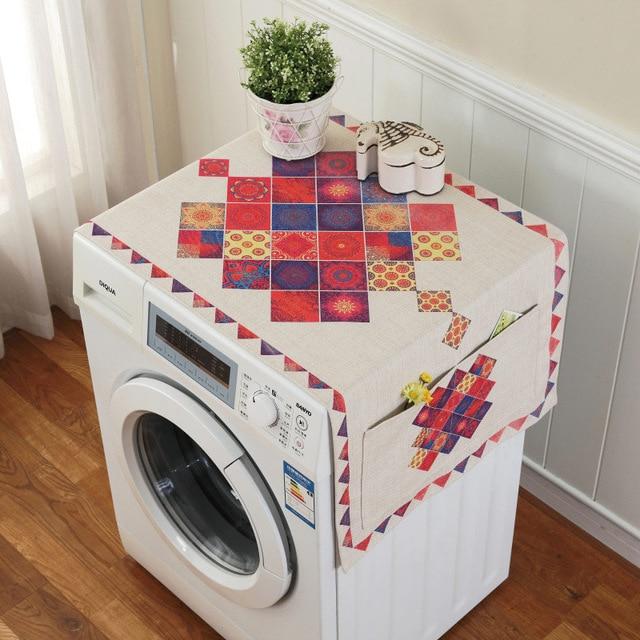 Ретро Европейский цветочный принт стиральная машина пылезащитный чехол для холодильника с карманом для хранения льняной ткани ремесло 1 шт./лот FC119 - Цвет: 6