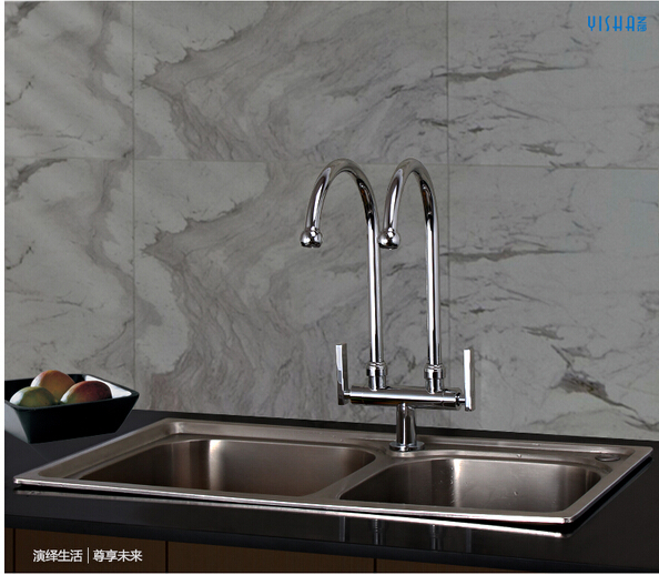 new arrival brass double pipe single cold deck mounted kitchen faucet sing tap