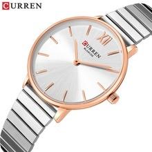 CURREN luksusowe kobiety złota róża zegarki analogowe kwarcowy zegarek na rękę kobiet zegar panie ze stali nierdzewnej zegarek ze stali relogios feminino