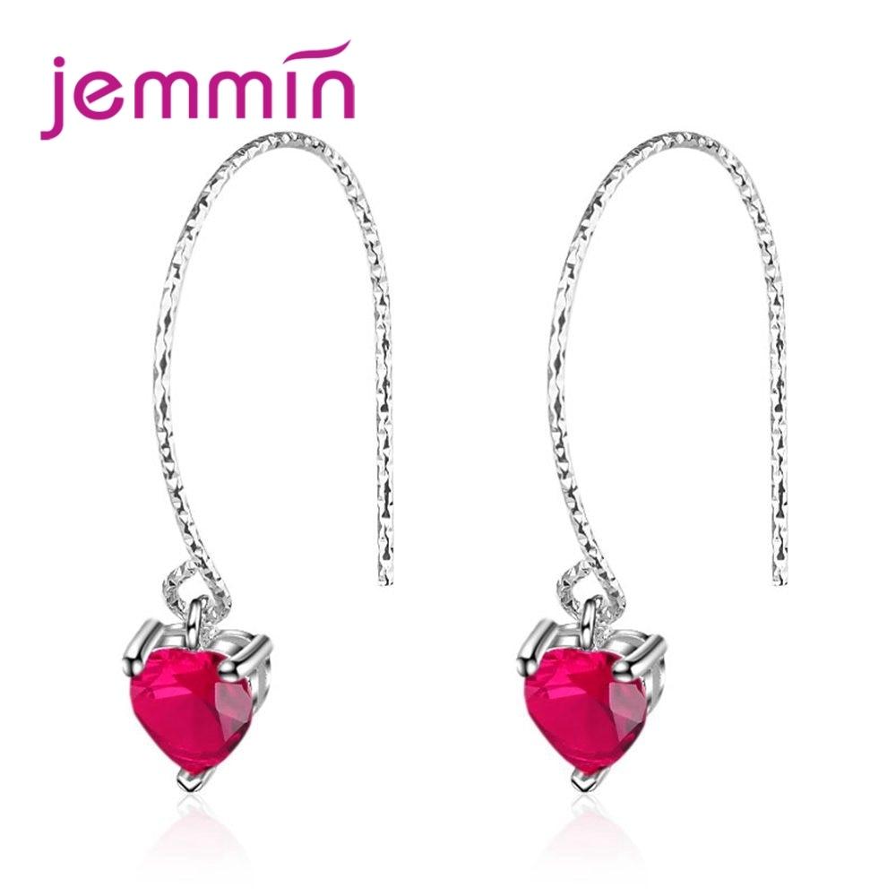 Jemmin Wholesale Sweet Love Heart Shape Red Clear Crystal 925 Sterling Silver Earrings Women Girls Party Engagement Jewelry