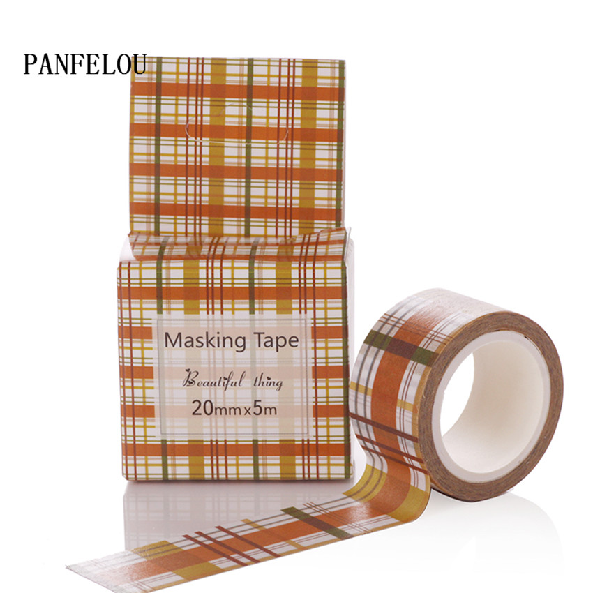 PANFELOU 2CMx5M Yellow grid cartoon Stickers border masking adhesive line paper washi tape DIY Scrapbooking Hand account