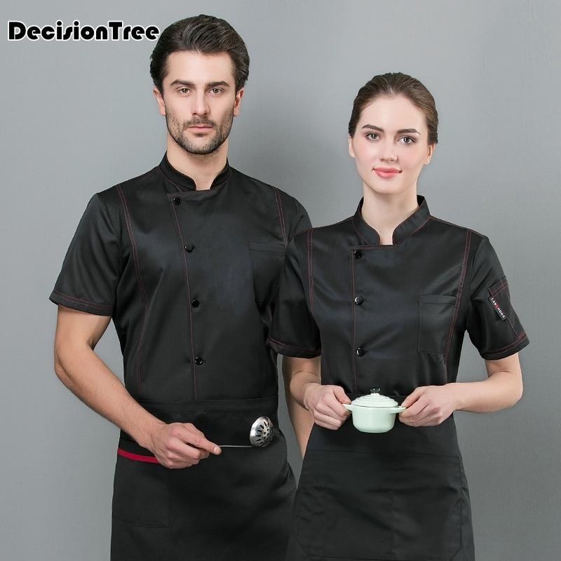 2020 Custom Made Unisex Japanese Korea Style Chef Uniform Cook Work Wear Short Sleeve Restaurant Cook Shirt Waiter
